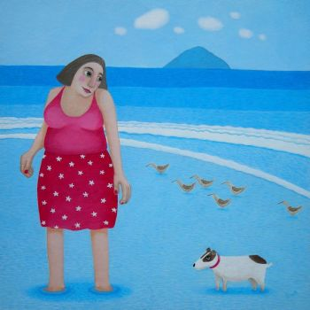 """The Reluctant Paddler"" Woman and dog medium giclee fine art print"