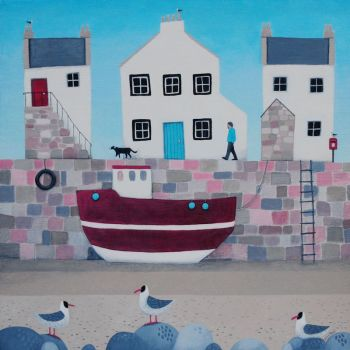 """Tide's Oot"" Village coastal scene medium giclee print"