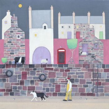 """Tidying the lobster pots"" coastal village scene in pink medium print"