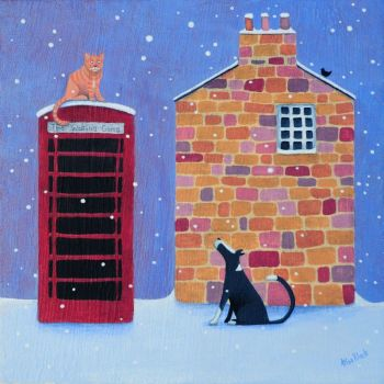 """""""Waiting Game"""" Medium giclee art print of a cat and dog"""