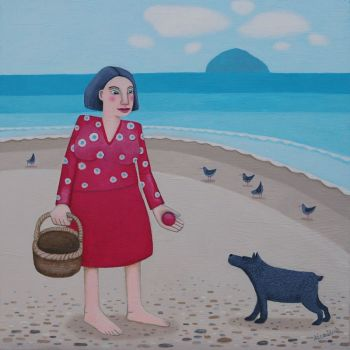 """Wee Red Ball"" Medium print of a girl on the beach with her dog"