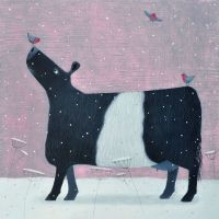 """Whispers of Robins"" Belted Galloway medium snow scene giclee print"