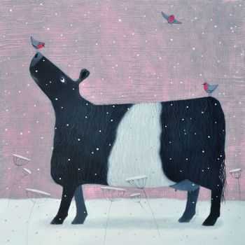 """""""Whispers of Robins"""" Belted Galloway medium snow scene giclee print"""