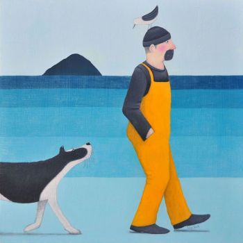 """""""Who's the Leader?"""" Man in overalls walks his collie dog medium print"""