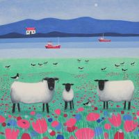 """Woollit Wanderers"" Black faced sheep in pink flowers medium print"