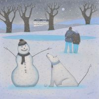 """A Dog called Patience"" Mini giclee print of a snowman and his snow-dog"