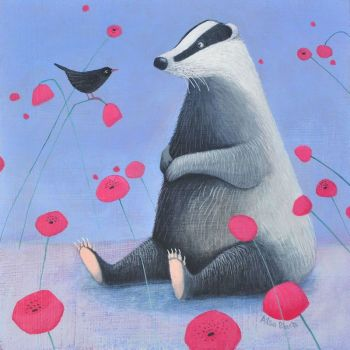 """Badger on Blue"" Badger print with poppies - mini fine art print"