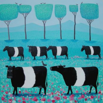 """Band o' Belties"" Belted Galloway cow mini animal art print"