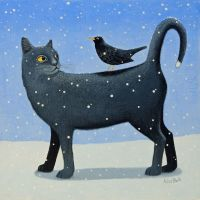 """""""Black Cat's Tale"""" A black cat print with and a blackbird in the snow"""