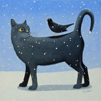 """Black Cat's Tale"" A black cat print with and a blackbird in the snow"