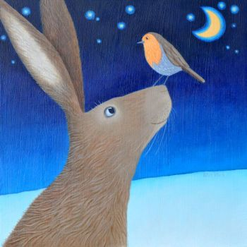 """By the Light of the Moon"" Hare and robin mini print"