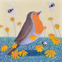 """Deep in Orange"" Robin and bumble bees mini prints"