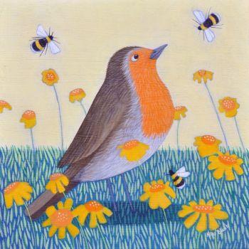 """Deep in Orange"" Robin and bumble bees mini prints"