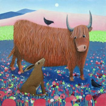 """Hearty Hare"" Highland cow and hare mini giclee print"