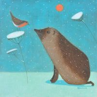 """Hedgehog of Happiness"" Hedgehog and robin in the snow mini print"