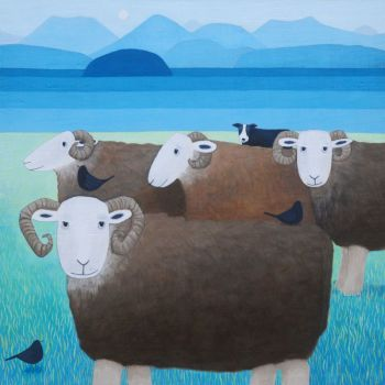 """Keeping an Eye"" Herwick sheep mini print"
