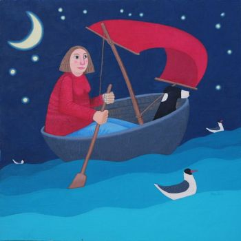 """Moonlit Escapade"" Woman and collie dog in a coracle mini giclee print"