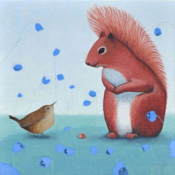 """Offering"" Red squirrel and wren mini giclee print"