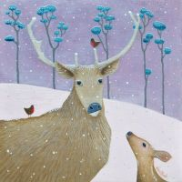 """Sno Dear"" Mini print of a red deer and it's fawn in the snow"