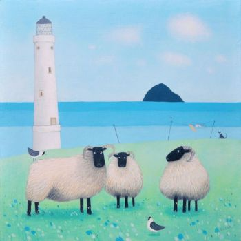 """Wind on Wool"" Black faced sheep and lighthouse mini print"
