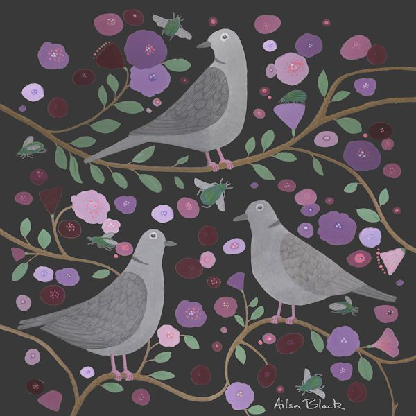 A colourful painting of collar doves with pink and purple flowers on a dark background