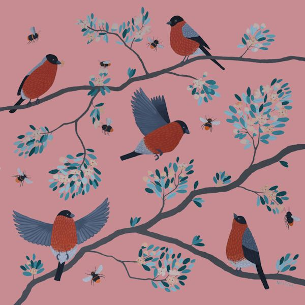 A painting of bullfinches on a peachy background.
