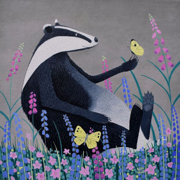 a painting of a badger sitting in a field of flowers in scotland by ailsa black