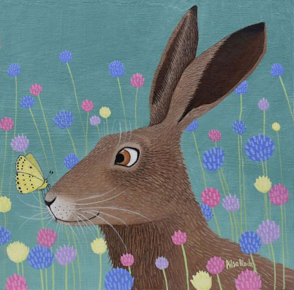 a painting of a hutterfly resting on the nose of a rabbit by ailsa black