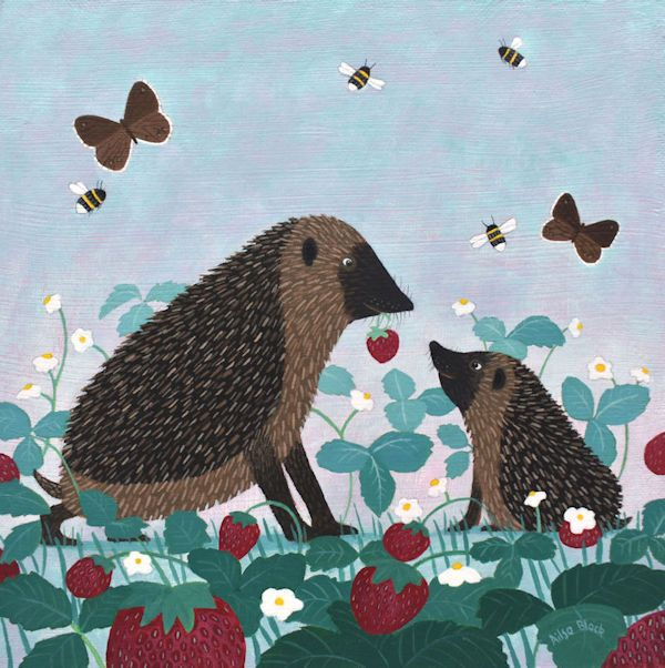 two hedgehogs sit in a field of strawberries by ailsa black