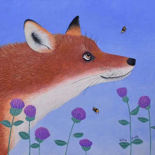 a fun painting of a fox watching a bee by ailsa black