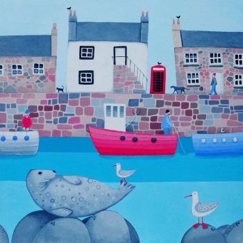 """Good Company"" Coastal harbour village scene card"
