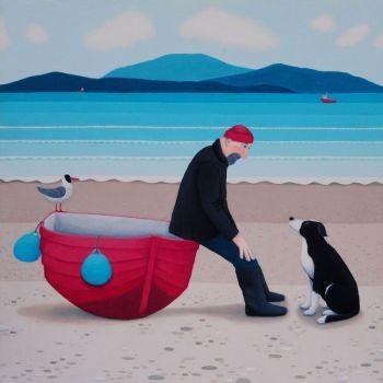 """Pep Talk"" Man, dog and boat blank greetings card"