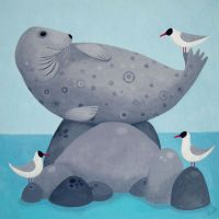 """Where-a-bouts the fishes"" seal and gulls greetings card"