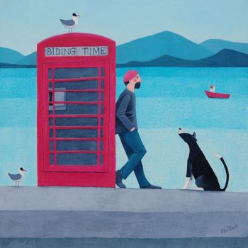 """Biding Time"" Card with red telephone box, man and collie dog"