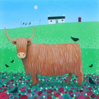 """Bird Talk"" Highland cow and blackbird greetings card"