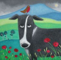 """Burd on the Bonce"" Border collie dog with robin greetings card"