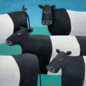 """Burd on Yer Bahookie"" Belted galloway cow card"