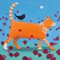 """Day Tripper"" Card with orange cat and blackbird"