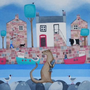 """Fish for Supper"" Card with otter in a harbour"