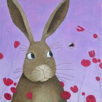 """""""Flight of the Red Tailed Bee"""" Card with hare and bee"""