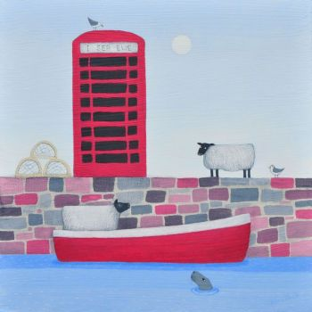 """I Sea Ewe"" Black faced sheep in a boat card"