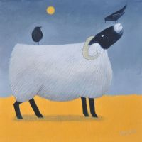 """Song on Yellow"" Black faced sheep and jackdaws card"