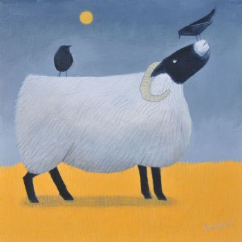 """""""Song on Yellow"""" Black faced sheep and jackdaws card"""