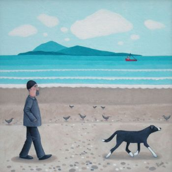 """Wee Red Boatie"" Man and dog on the beach card"