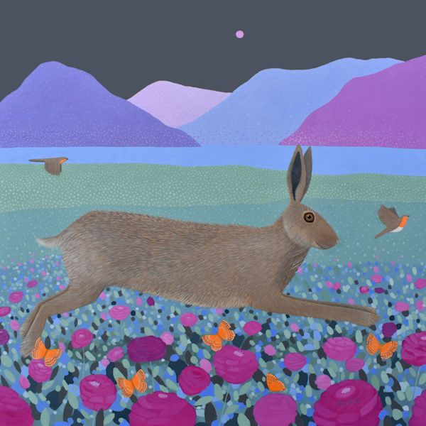 a painting of  ahre chasing a robin by ailsa black