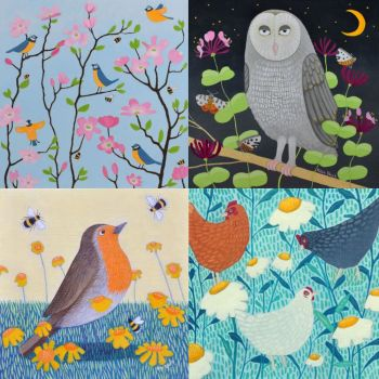 Bird themed pack of 8 Cards
