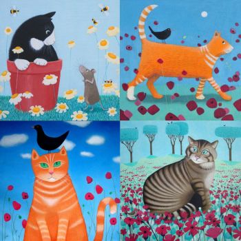 A pack of 8 Cat Cards