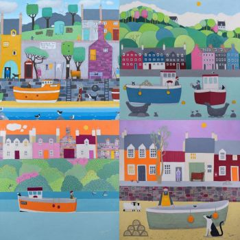 A Pack of 8 Colourful Coastal Cards