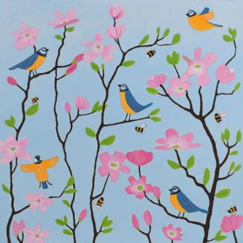 """Bluetits and Blossoms"" Bluetit greetings card"