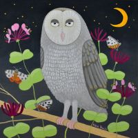 """Hoolit in the Honeysuckle"" Barn owl blank art card"